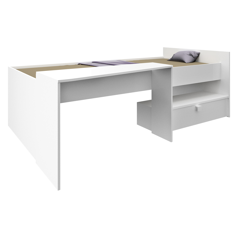 Postel 90x200 s psacím stolem BONY perleťově bílá
