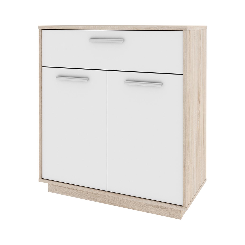 Komoda LEO 2 dveře + 1 zásuvka dub/bílá