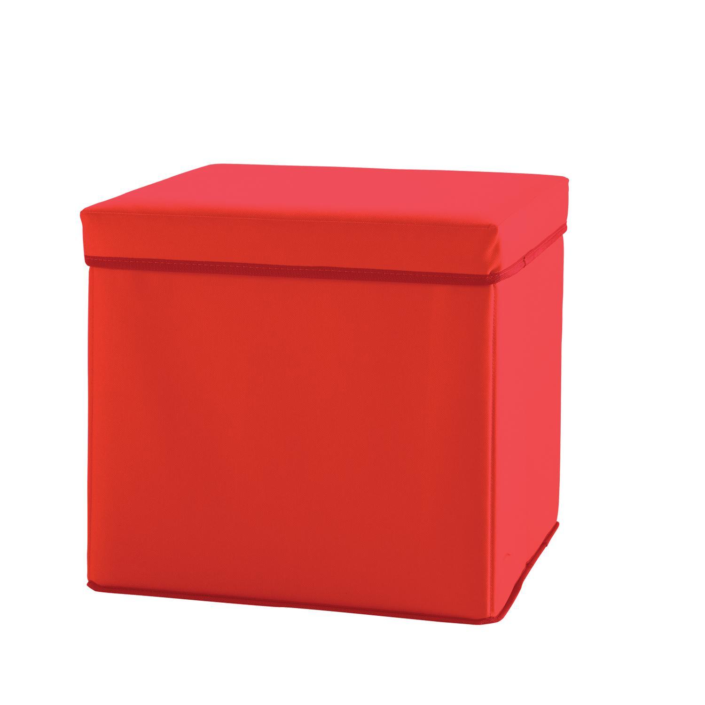 Box úložný sedací červený