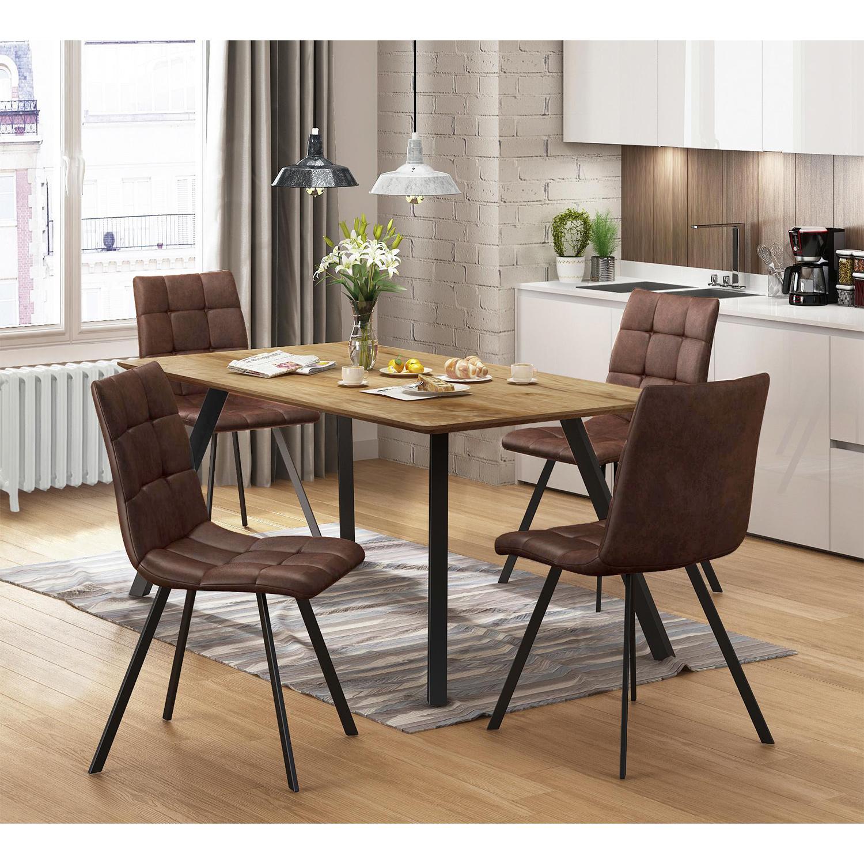 Jedálenský stôl BERGEN dub + 4 stoličky BERGEN hnedé mikrovlákno