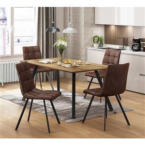 Jídelní stůl BERGEN dub + 4 židle BERGEN hnědé mikrovlákno