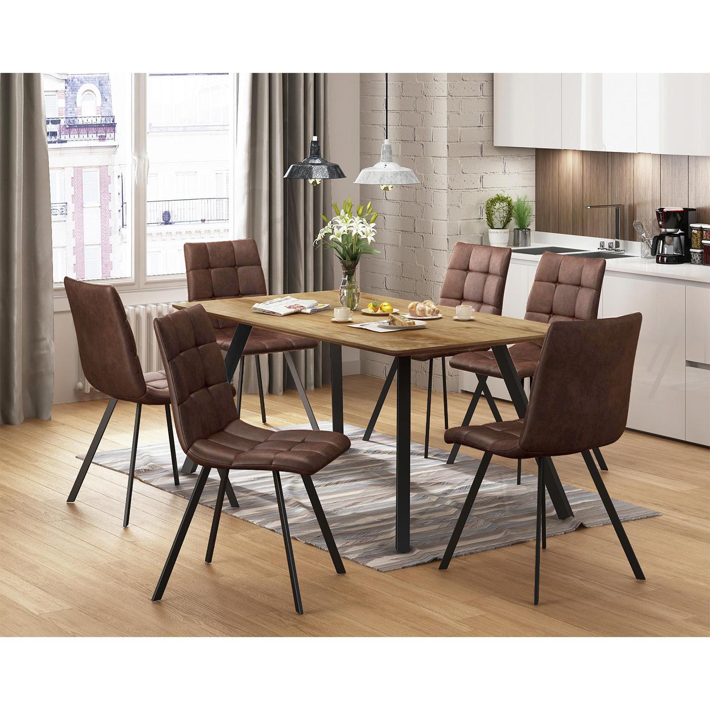 Jedálenský stôl BERGEN dub + 6 stoličiek BERGEN hnedé mikrovlákno