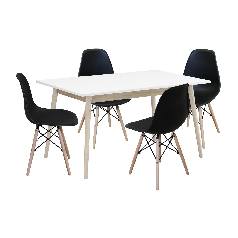 Jedálenský stôl NATURE + 4 stoličky UNO čierne