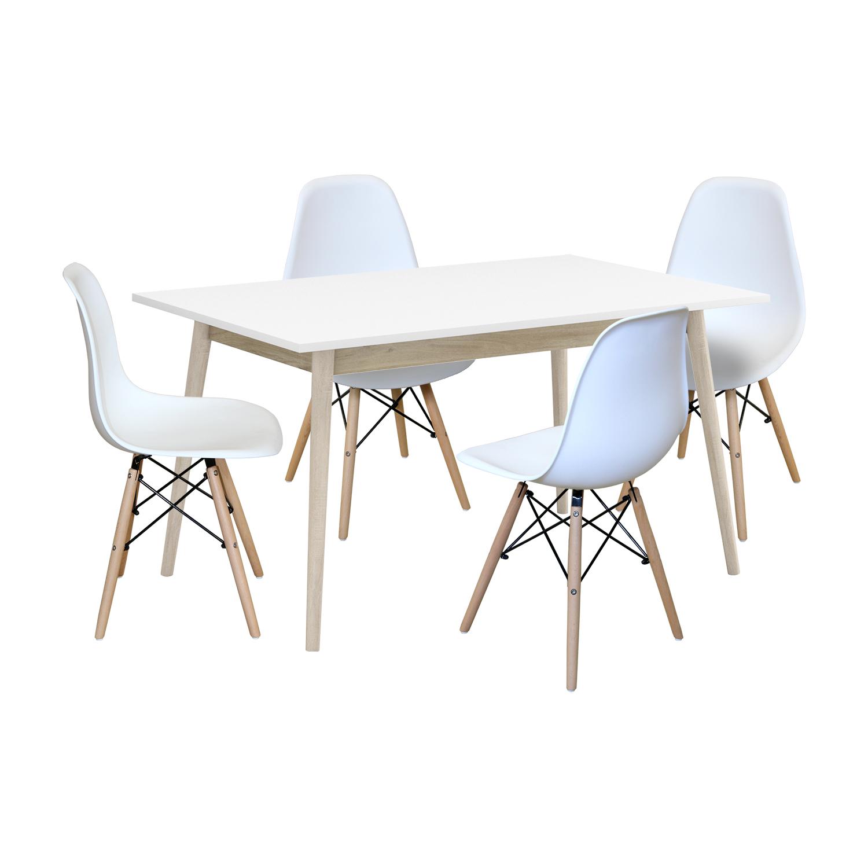 Jedálenský stôl NATURE + 4 stoličky UNO biele