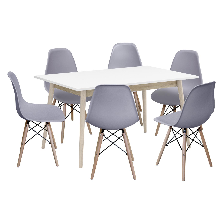Jedálenský stôl NATURE + 6 stoličiek UNO sivé