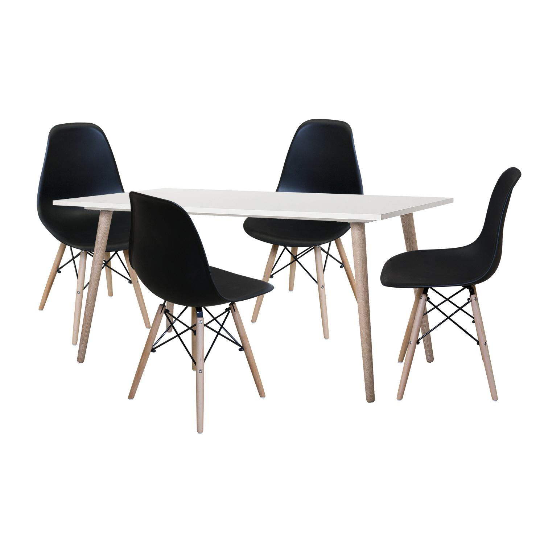 Jedálenský stôl GÖTEBORG 50 + 4 stoličky UNO čierne