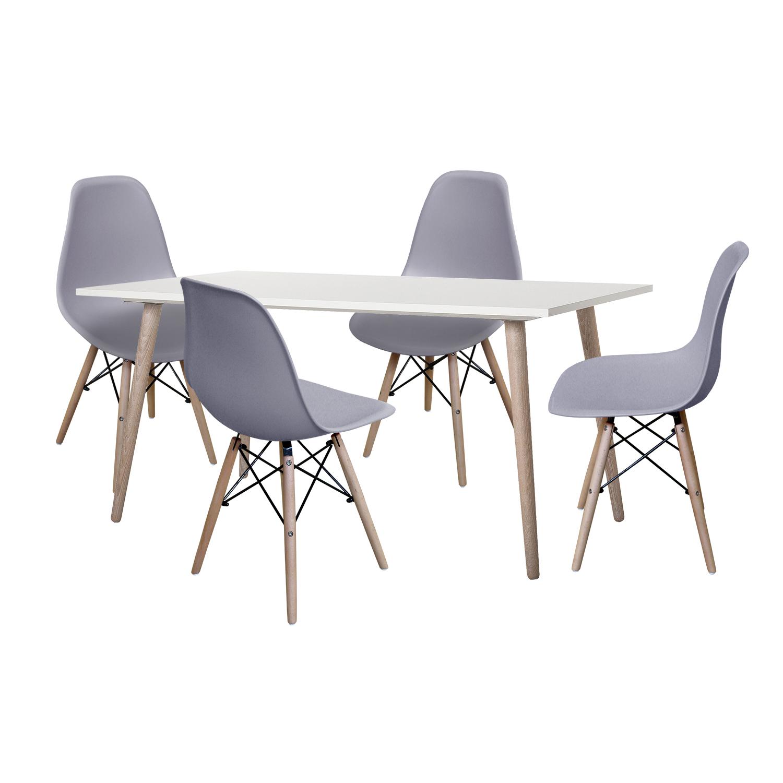 Jedálenský stôl GÖTEBORG 50 + 4 stoličky UNO sivé
