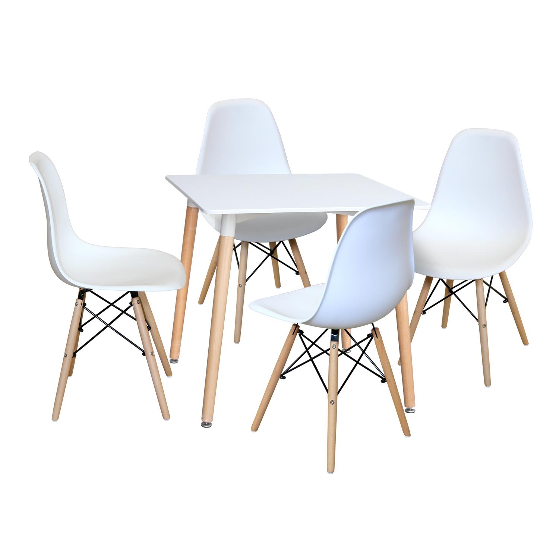 Jídelní stůl 80x80 UNO bílý + 4 židle UNO bílé