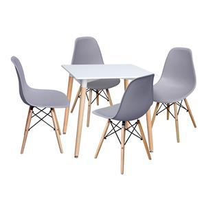 Jídelní stůl 80x80 UNO bílý + 4 židle UNO šedé