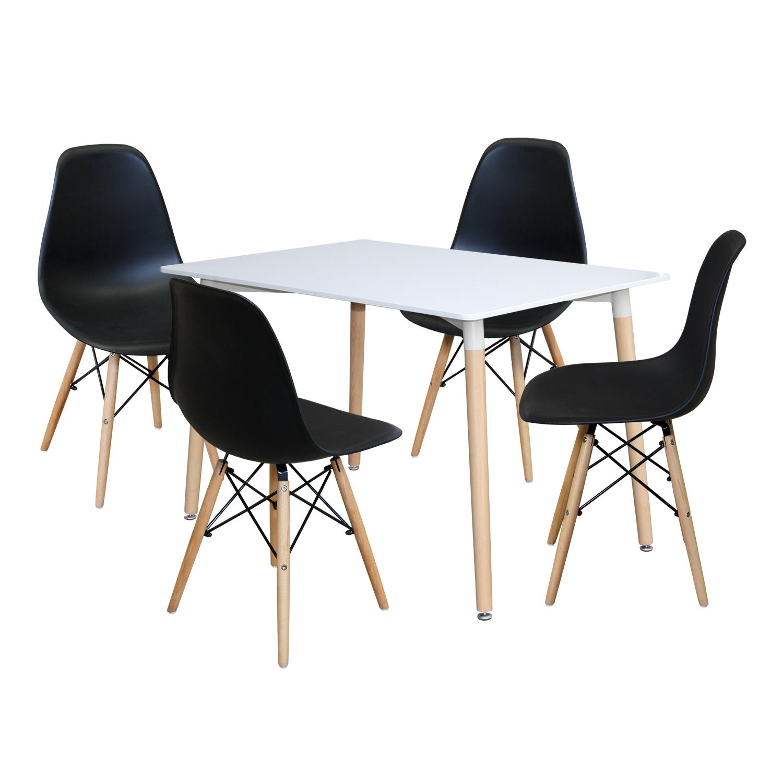 Jídelní stůl 120x80 UNO bílý + 4 židle UNO černé