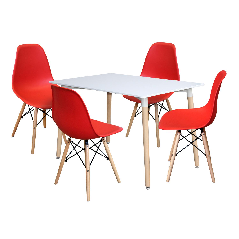 Jídelní stůl 120x80 UNO bílý + 4 židle UNO červené