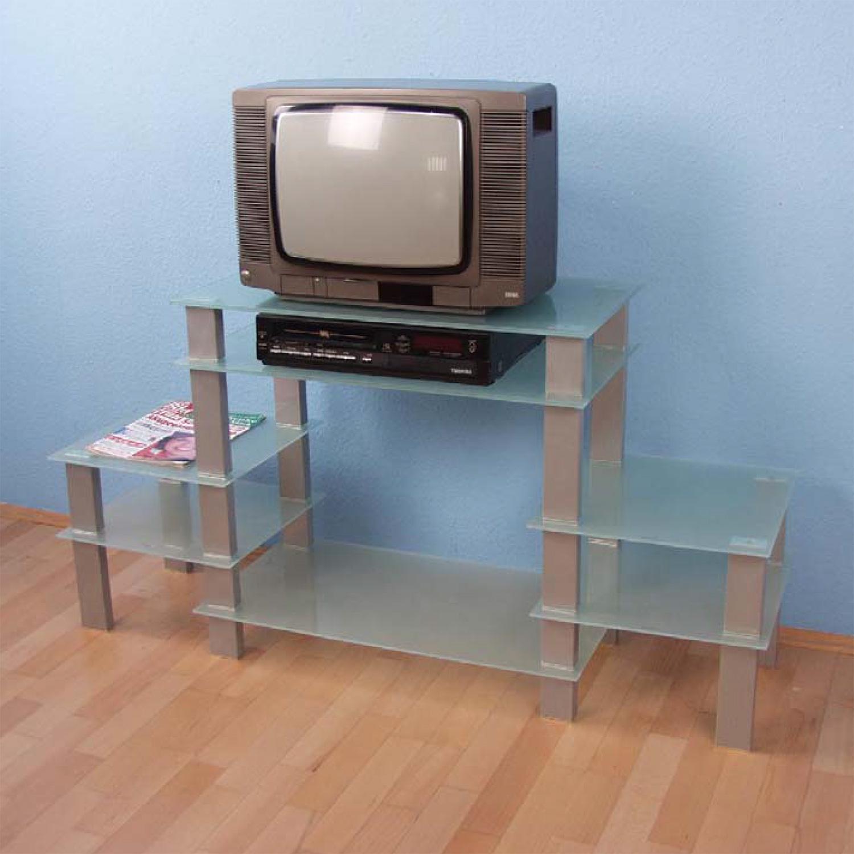 Levně TV stolek sklo/stříbrná