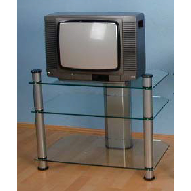 TV stolek sklo/stříbrná
