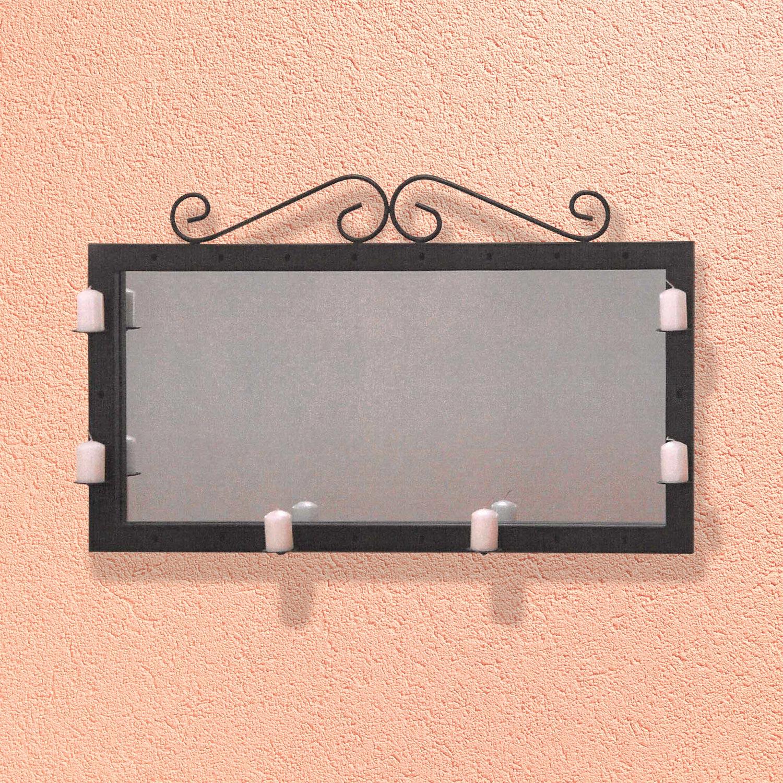 Zrkadlo/svietnik dekorácie kov čierny