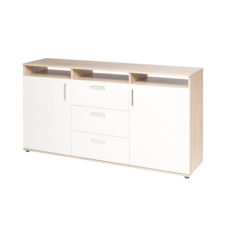 Prádelník OREGON dub/lesklá bílá