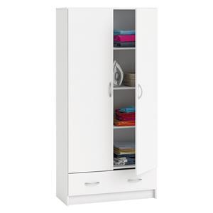 Skříň policová 2 dveře + 1 zásuvka BEST bílá
