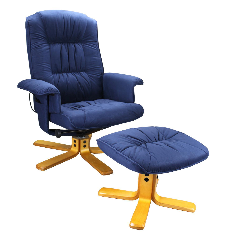 Relaxační masážní křeslo s podnožkou modré K37