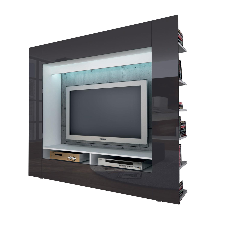 Televizní stěna OLLI bílá / lesklá šedá