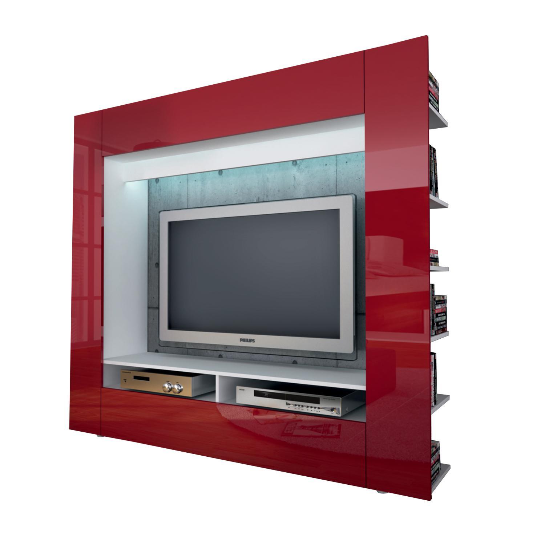Televizní stěna OLLI bílá / lesklá červená