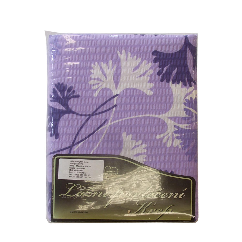 Povlečení krep fialovobílá listy